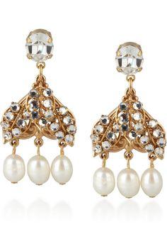 24-karat gold-plated Swarovski crystal faux pearl earrings by Bijoux Heart