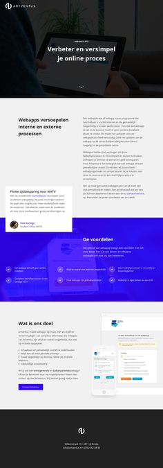One Pager promoting the web app development services by Dutch digital agency, Artventus. It's fairly basic but a good reference to how they used a Landing Page on another domain purely to market the service - all links go back to their main site/domain. Nice little touch with the scroll hint animation.
