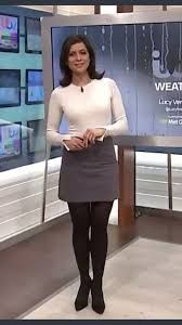 Weather Lady in white shirt & dark Gray dress in black pantyhose Itv Weather Girl, Weather Girl Lucy, Hottest Weather Girls, Nylons, Black Pantyhose, Black Tights, Skirt Outfits, Sexy Outfits, Dress Skirt