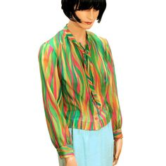 Blouse du Jour 60s Blouse Lime Green Pink Stripe Chiffon by Saab from MorningGlorious