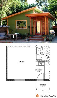 Modern Style House Plan - Studio 1 Baths 320 Sq/Ft Plan #890-2 by AlliFiske