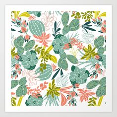 Buy Succulent Garden White Art Print by heatherduttonhangtightstudio. Worldwide shipping available at Society6.com. Just one of millions of high quality products available.