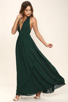 Lulus Exclusive! You'll get looks everywhere you go in the Stop and Stare Forest Green Halter Maxi Dress! Lightweight chiffon shapes the plunging halter bodice with an open back, and tying neckline. A banded waist sits atop a full, wrapping maxi skirt. Hidden back zipper/clasp.
