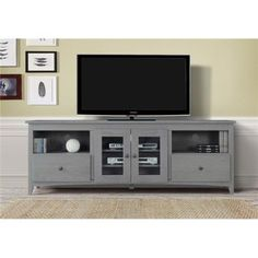 Ecoflex Furniture MC1877 70 in. Victoria TV Stand, Charcoal Grey, As Shown