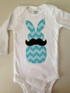 Mustache Bunny Easter Onesie by HighAltitudeCrafting on Etsy, $18.00