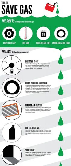 How to use less gas. | XX Essential Cheat Sheets For Everyone Who Drives A Car