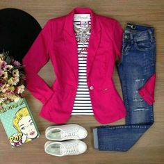 Best Casual Fashion Part 38 Mode Outfits, Jean Outfits, Chic Outfits, Fall Outfits, Fashion Outfits, Pink Blazer Outfits, Summer Outfits, Dress Fashion, Work Casual