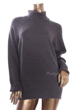 KAREN SCOTT Womens New Dark Gray Marled Turtleneck Knit Cable Sweater L #KarenScott #TurtleneckMock