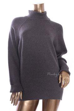 KAREN SCOTT Womens New Dark Gray Marled Turtleneck Knit Cable Sweater L #KarenScott #TurtleneckMock