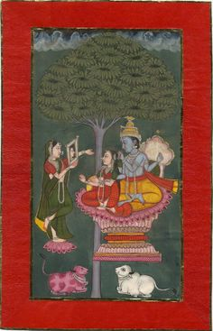 Kṛṣṇa combing Rādhā's hair, seated on a lotus throne. Date 1800-1805. Pune. (Asia,South Asia,India,Deccan,Maharashtra,Pune District,Pune)
