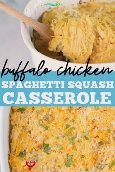 Buffalo Chicken Spaghetti Squash Casserole This Healthy Buffalo Chicken Spaghetti Squash Casserole bake is the perfect quick weeknight dinner. Clean eating, low carb, full of flavor - it's gluten free, healthy and SO delicious! This can be made dairy free/ Whole30 friendly, or turned into boats! #glutenfree #healthy #buffalo #keto #lowcarb<br> This Healthy Buffalo Chicken Spaghetti Squash Casserole is the perfect quick weeknight dinner. Low in carbs, but full on flavor - it's gluten free and… Healthy Chicken Casserole, Healthy Chicken Dinner, Healthy Buffalo Chicken, Healthy Dinner Recipes, Buffalo Chicken Spaghetti Squash, Spaghetti Squash Casserole, Healthy Grilling, Healthy Eats, Grilled Chicken Recipes