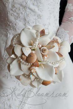 Wedding broach bouquet 7 Ocean Seasherll by Rubybloomscom on Etsy