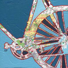 Bike Baltimore print -- featuring Baltimore, Maryland, Johns Hopkins bike art on Etsy, $17.00