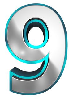 Metallic and Blue Number Nine PNG Clipart Image