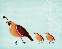 Quail Family Illustration Archival Art Print for Nursery, Kitchen, Kids Room Decor, Wall Art. $24.00, via Etsy.