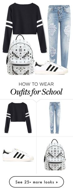 """school outfit"" by cutiegirlof1999 on Polyvore featuring Dsquared2, adidas and MCM"