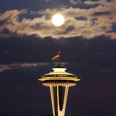 Space Needle, Seattle Pride, 2010 by David M Hogan, Now on Google+ too, via Flickr