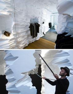 richard chai - snarkitecture - on a tiny budget, these designers carved away at massive blocks of white architectural foam with a hot wire cutter, creating a polar-like landscape hidden within a shipping container.