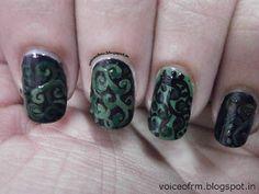 Black and Green Swrils – Weekend Mani.!