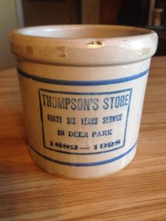 Redwing Stoneware Advertising Beater Jar Thompson's Store Deer Park Wisconsin? #redwingstoneware