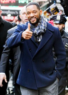 Will Smith gave a big thumbs-up while visiting Good Morning America in New York on Feb. 18.