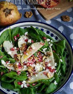 insalata di spinacini pere melograno