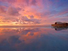 Tidal Reflections at Sunset, Maldives