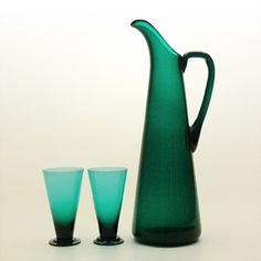 SV jug and glasses, Nanny Still (Riihimäen, Everyday Glasses, Farm Shop, Scandinavian Art, Lassi, Retro Art, Glass Design, Colored Glass, Glass Bottles, Be Still