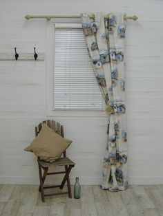 Beach Huts Cotton Blue Curtain Fabric - The Millshop Online