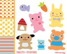 Pets Clip Art - Kawaii  Animals Clip art Set - INSTANT DOWNLOAD - Digital Stock Illustration on Etsy, $5.00