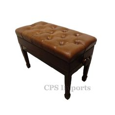 "Walnut Duet Size Leather Adjustable Artist Piano Bench by CPS. $209.99. The Duet Size Leather Adjustable Artist Piano Bench is 27"" long and 14"" deep. It weighs about 34 pounds. Its height can be adjusted from 19 1/2"" to 22"".  The artist piano bench is made of solid hard wood with heavy duty mechanism (silent micro adjustment). The seat is covered with 100% premium genuine leather. The leather we use on our bench is the top quality leather you can find. It's thi..."