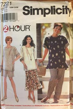 Vintage 7221 Simplicity (1996)  2 Hour pattern  Size 18W-20W-22W-24W  Pattern is complete with instructions. It is unused and factory folded. Excellent condition.  Envelope is clean, intact with clear graphics. It has minor storage wear (wrinkled corners). Please see pics.  Please contact me with questions.  Enjoy