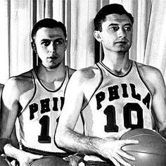 Two Philadelphia Warrior Hall of Famers: Paul Arizin (left) and Joe Fulks. Running The Gauntlet, Basketball History, Nba Scores, Team Names, Golden State Warriors, Coaching, Sports Teams, Aba