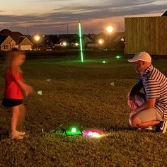 Have your own fun round of backyard glow golf! Golf Flag, Glow, Backyard, Night, Fun, Patio, Backyards, Lol, Funny