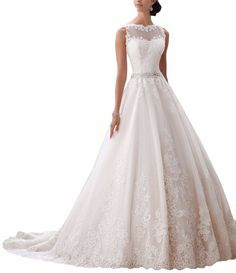 Ever Girl Women's Latest Sleeveless Lace Appliques Bridal Dress Wedding Gown Ivory 2