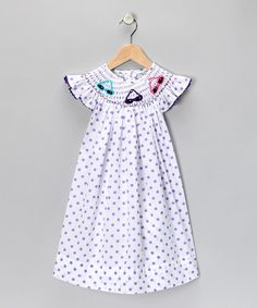 Take a look at this White Polka Dot Sunglasses Dress - Infant, Toddler & Girls by Marjorie's Daughter on #zulily today!    A must have for the mini diva!