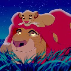 Simba and his daughter or Mufasa and Simba as a cub?