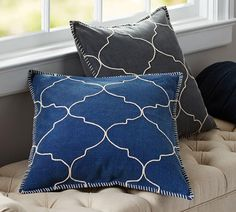 Tile Embroidered Cushion Cover in Blue