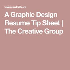 A Graphic Design Resume Tip Sheet | The Creative Group