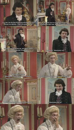 Mr. Bean and Bertie Wooster in Blackadder... Scarlet Pimpernel parody, love it!