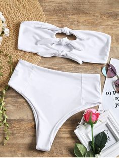This bikini top is a bandeau collar with knotted construction at the front, bralette cups for a soft style. Pair our swim bottoms for a perfect match, high waisted detail makes a large coverage and the high cut leg will flatter your curves. #Zaful #Swimwear #Bikini