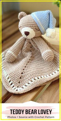 Crochet Teddy Bear Lovey Pattern - easy crochet blanket pattern for beginners Crochet Lovey Free Pattern, Crochet Bear Patterns, Free Crochet, Doll Patterns, Crochet Security Blanket, Easy Crochet Blanket, Teddy Ruxpin, Bear Blanket, Knitted Teddy Bear