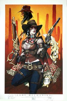 deviantART lady mechanika steampunk Western   steampunkutopia:Lady M Outlaw#113/200 w/sketch by ~joebenitez