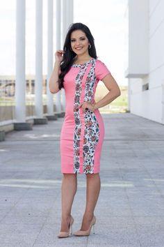 Vestido Milene Tubinho Sarja com Estampa - 5582 por R$119,00