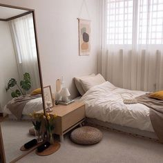 Wohnzimmer/schlafzimmer 35 Adorable Practical Bedroom Design Ideas You Are Looking For Room Ideas Bedroom, Small Room Bedroom, Home Decor Bedroom, Study Room Decor, Bedroom Inspo, Korean Bedroom Ideas, Big Mirror In Bedroom, Small Room Decor, Master Bedroom