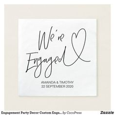 Shop Engagement Party Decor Custom Engagement Napkins created by CocoPress. Engagement Party Planning, Engagement Party Favors, Engagement Party Dresses, Engagement Party Decorations, Party Table Decorations, Bridal Shower Decorations, Wedding Favors, Party Wedding, Wedding Stuff