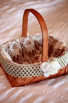 Flower Girl Basket with fabric flowers and by BurlapandButter