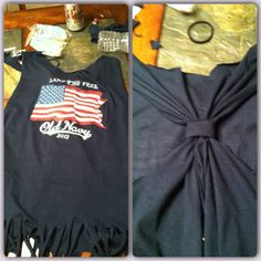 DIY tshirt to tank success! #fringe #racerback #4thofJuly @Sara Sheehan this might look cute with the gun shirt you found...