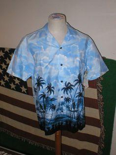CHEMISES HAWAI BLUE PALM
