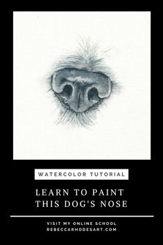 Learn to paint this dog's nose, plus step by step pet portraits, wildlife, and w. - How to Paint Realistic Pets and Wildlife - Dog Paintings, Watercolor Paintings, Watercolors, Dog Face Drawing, Animal Drawings, Art Drawings, Let's Make Art, Dog Nose, Watercolour Tutorials